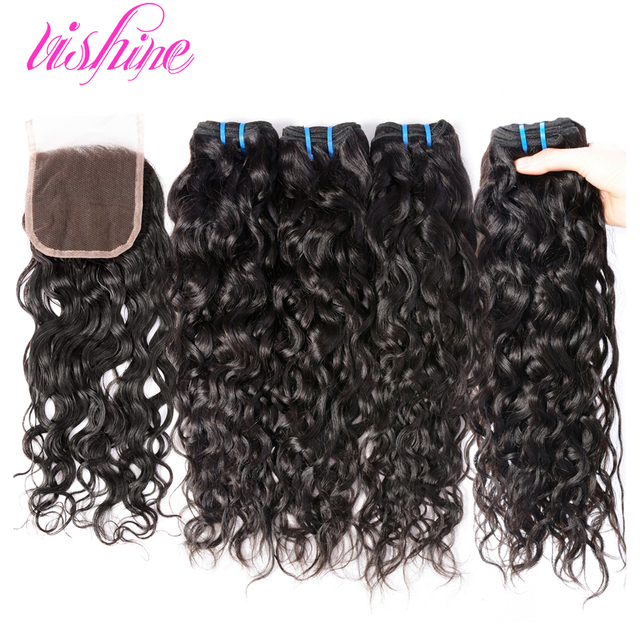 Brazilian Virgin Hair with Closure Brazilian Water Wave with Closure Wet and Wavy With Closure Curly Human Hair With Closure