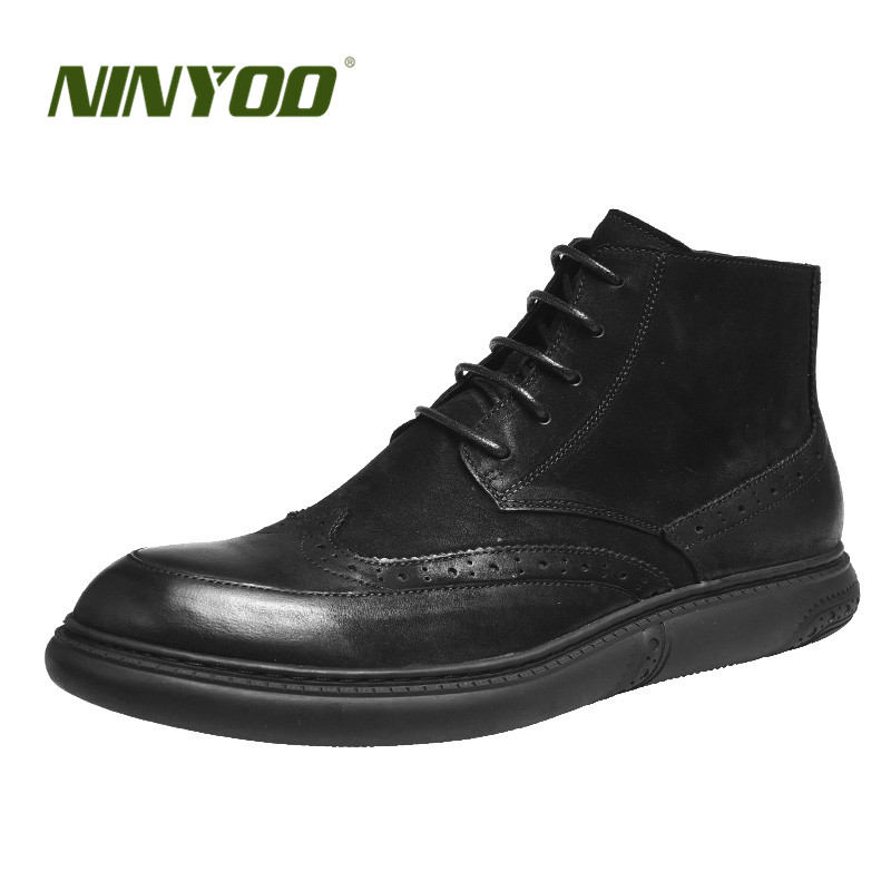 NINYOO New High End Men Boots Brogue Genuine Leather Fur Boots Wearproof Ankle Winter Boots Carving Chelsea Boots Casual Shoes