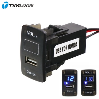 5V 2.1A USB Interface Socket Car Charger and Voltage Meter Battery Monitor Use for Honda,Civic,Spirior,CRV,Fit Jazz,City,Accord image