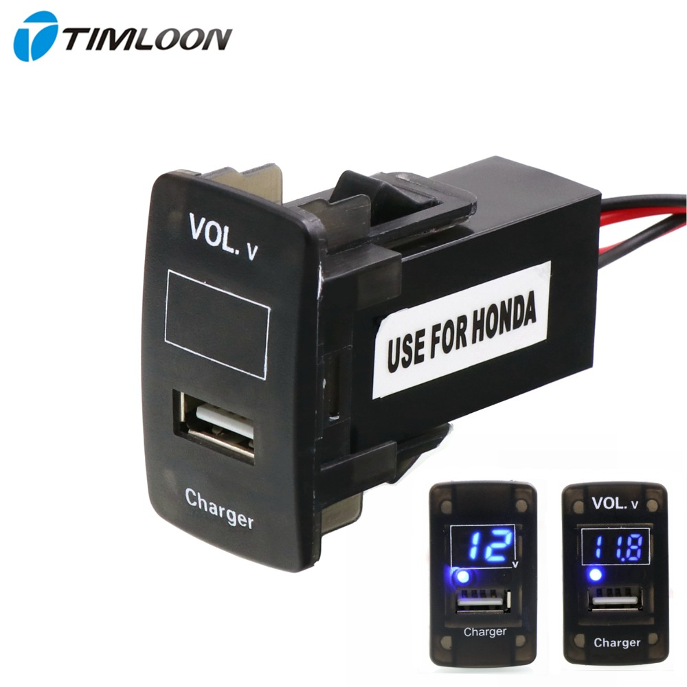5V 2.1A USB Interface Socket <font><b>Car</b></font> Charger and Voltage Meter <font><b>Battery</b></font> Monitor Use for <font><b>Honda</b></font>,Civic,Spirior,CRV,Fit Jazz,City,<font><b>Accord</b></font> image