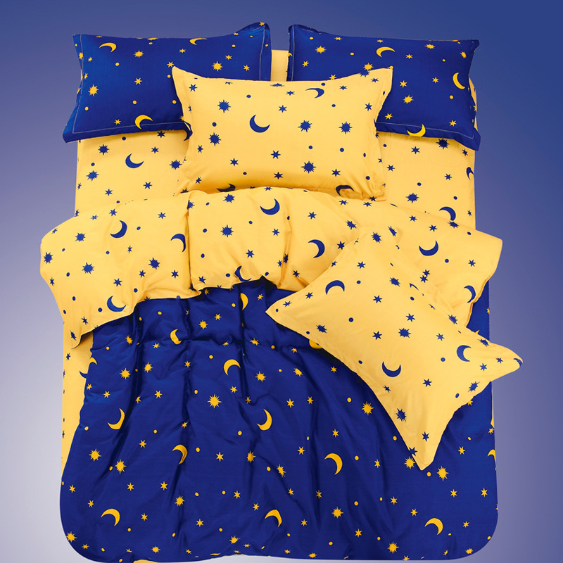 AB Side Moon Stars Duvet Cover Blue Yellow Color Bed Cover Twin Full Queen Size Polyester Duvet Cover Only XF353-8