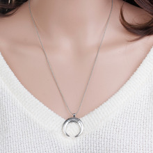8SEASONS Handmade Copper Necklace Antique Silver Color Half Moon Cresent 53.5cm(21 1/8″) long, 1 Piece