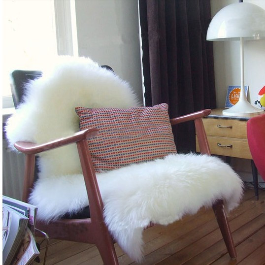 Sheepskin chair cover seat pad soft carpet hairy plain for Chaise fourrure