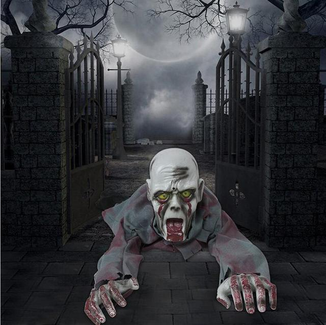 2017 halloween haunted house party bar ktv decorative props horror lightning shouting ghost will climb crawling