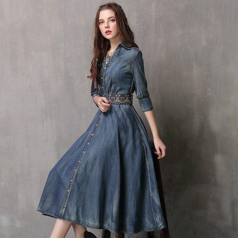 VUW Printemps Automne Vintage Denim Robe Femmes Sexy Boho Slim Jean Robes Mode Haute Qualité Robe avec Ceinture Robes