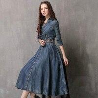 VUW Spring Autumn Vintage Denim Dress Women Sexy Boho Slim Jean Dresses Fashion High Quality Dress with Belt Vestidos