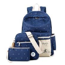 Coréenne casual femmes sacs d'école toile impression ensembles de sac à dos mignon sacs d'école sacs à dos pour adolescente filles épaule sac