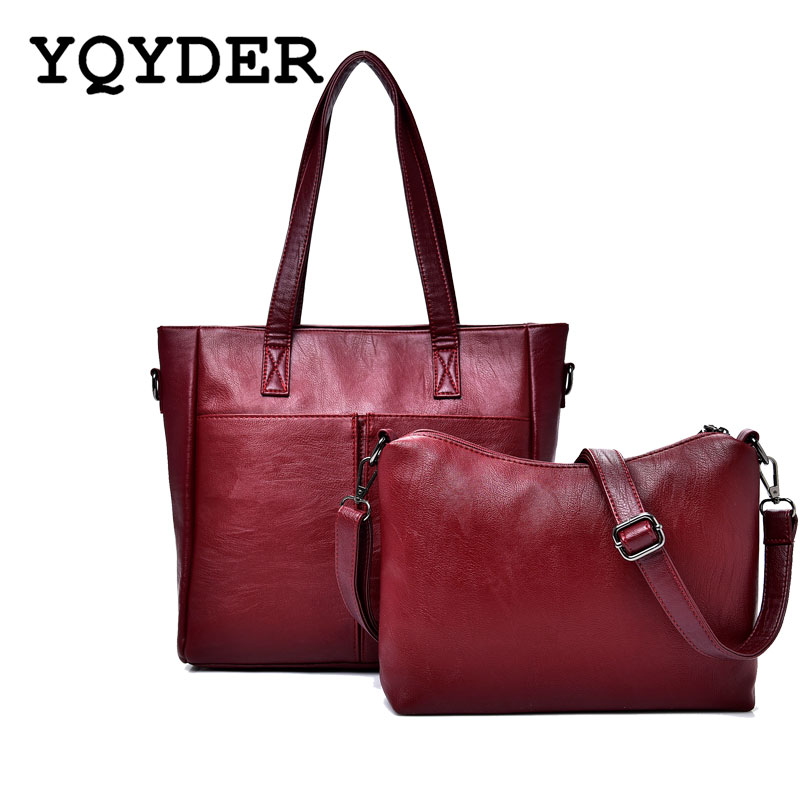 2 PCS/Set Bag Women Big Shoulder Bag Luxury Female Handbag High Quality PU Leather Lady Messenger Bags Large Capacity Tote Sac 2018 new women bag ladies shoulder bag high quality pu leather ladies handbag large capacity tote big female shopping bag ll491