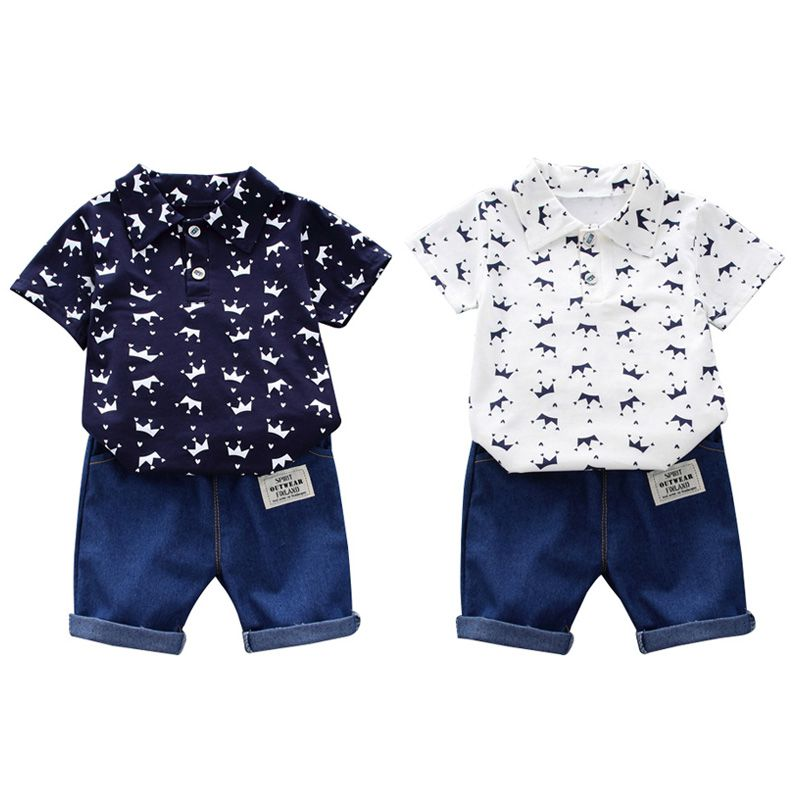 Toddler Kids Gentlemen Suit Baby Boy Clothing Set 2019 New Summer Infant Boys Clothes Crown Print Shirts+Shorts Outfit Sets image