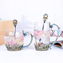 Creative enamel cups home heat-resistant glass high-grade flower mug coffee cup crystal glass cup birthday gift Cup with spoon 250ml375ml475mldouble glass high borosilicate transparent creative cup tropical resistant coffee cups custom made logo cups
