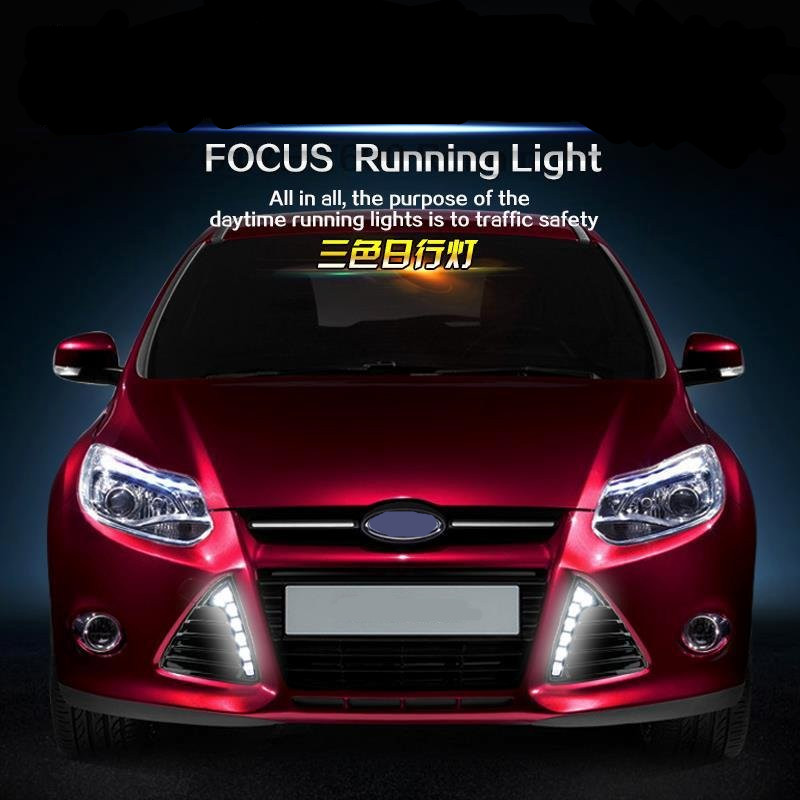 Tcart For Ford  focus 2012-2014 7 LED DRL car auto  Daytime running light DRL led headlight fog light free shipping