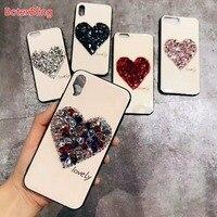 Роскошные DIY Diamond сердце Blu-Ray чехол для iPhone Xs max XR X 6 6 S 7 6 plus 8 плюс крышка 7 plus S8 S9 S10 плюс S10E NOTE9 N8 S7edge