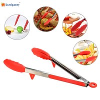 LumiParty 2pcs Stainless Steel Kitchen Food Tongs Set 9 12 Heat Resistant Cooking Tongs With Silicone