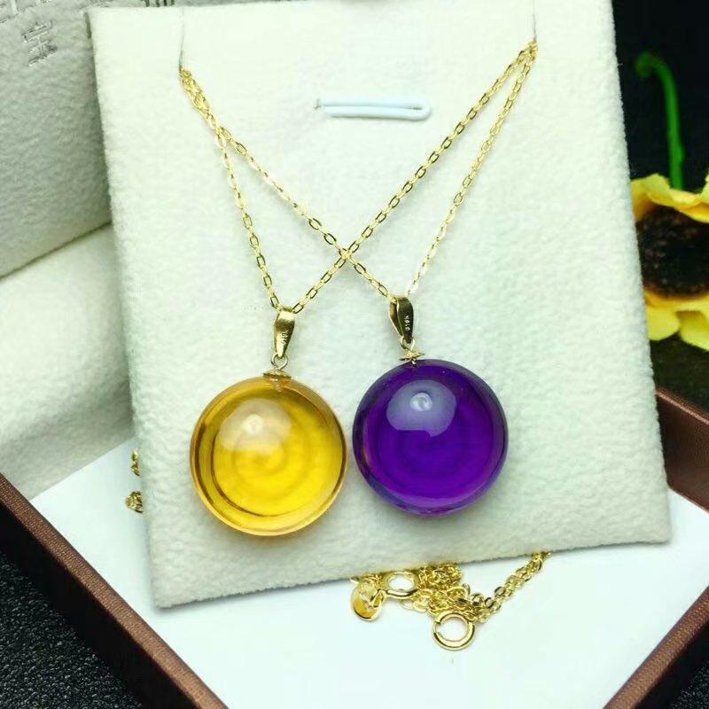 shilovem 18k yellow gold piezoelectric amethyst citrine fine Jewelry women trendy none necklace gift 15 15mm
