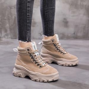 Image 5 - NEWDISCVRY hakiki deri kadın kış çizmeler peluş sıcak kadın platformu Sneakers 2020 moda savaş botları kadın ayakkabı
