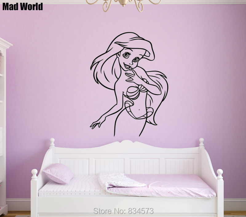 Mad World Little Mermaid Silhouette Wall Art Stickers Decal Home DIY  Decoration Wall Mural Removable