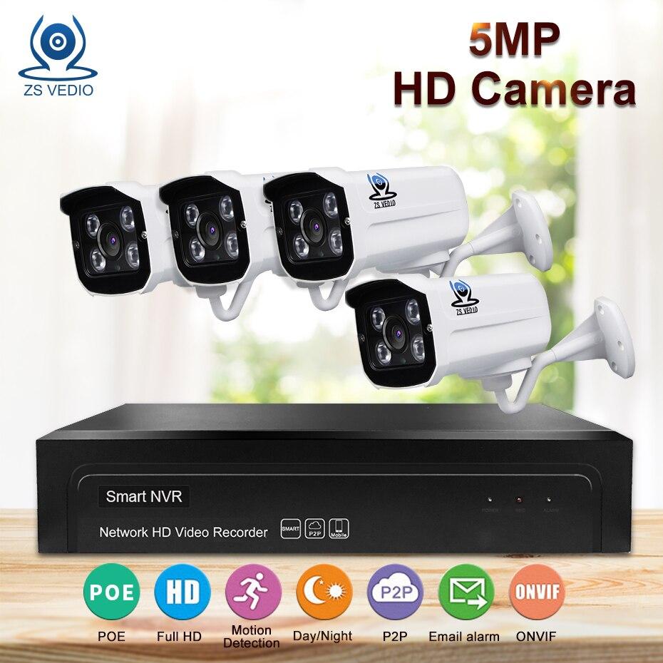 ZSVIDEO Système de Surveillance Caméra de Sécurité POE Accueil Extérieure Motion 5MP Infrarouge Nuit Vision H.265 NVR Kits Caméra CCTV
