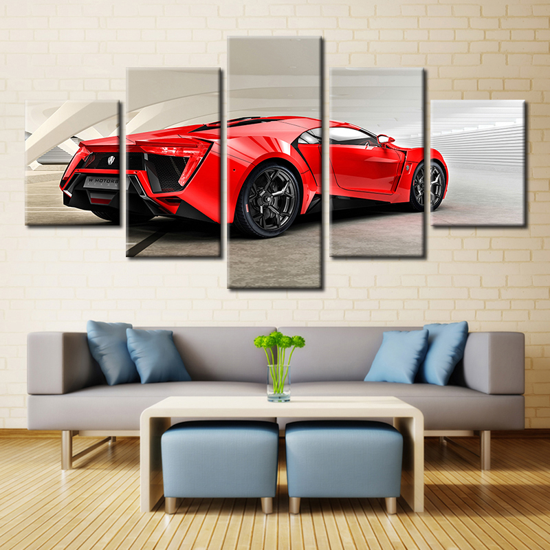 Embelish Home Decor Modular 5 Pieces Pictures Red Sports Car HD Print On Canvas Painting For Living Room Wall Art Posters Framed