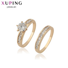 цена на Xuping Fashion Ring Top Quality Classical Charmming Love' s Ring 18k Gold Plated Synthetic CZ Wholesale Jewelry 12888