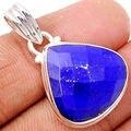 Genuine Lapis Lazuli Pendant 100% 925 Sterling Silver 33 MM AP1284