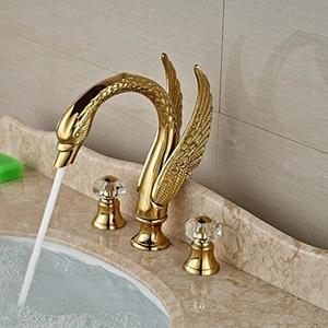 Image 1 - Роскошный кран для раковины в форме золотого лебедя с двойной хрустальной ручкой, смеситель для ванной комнаты с широким штативом, метчик с клапаном