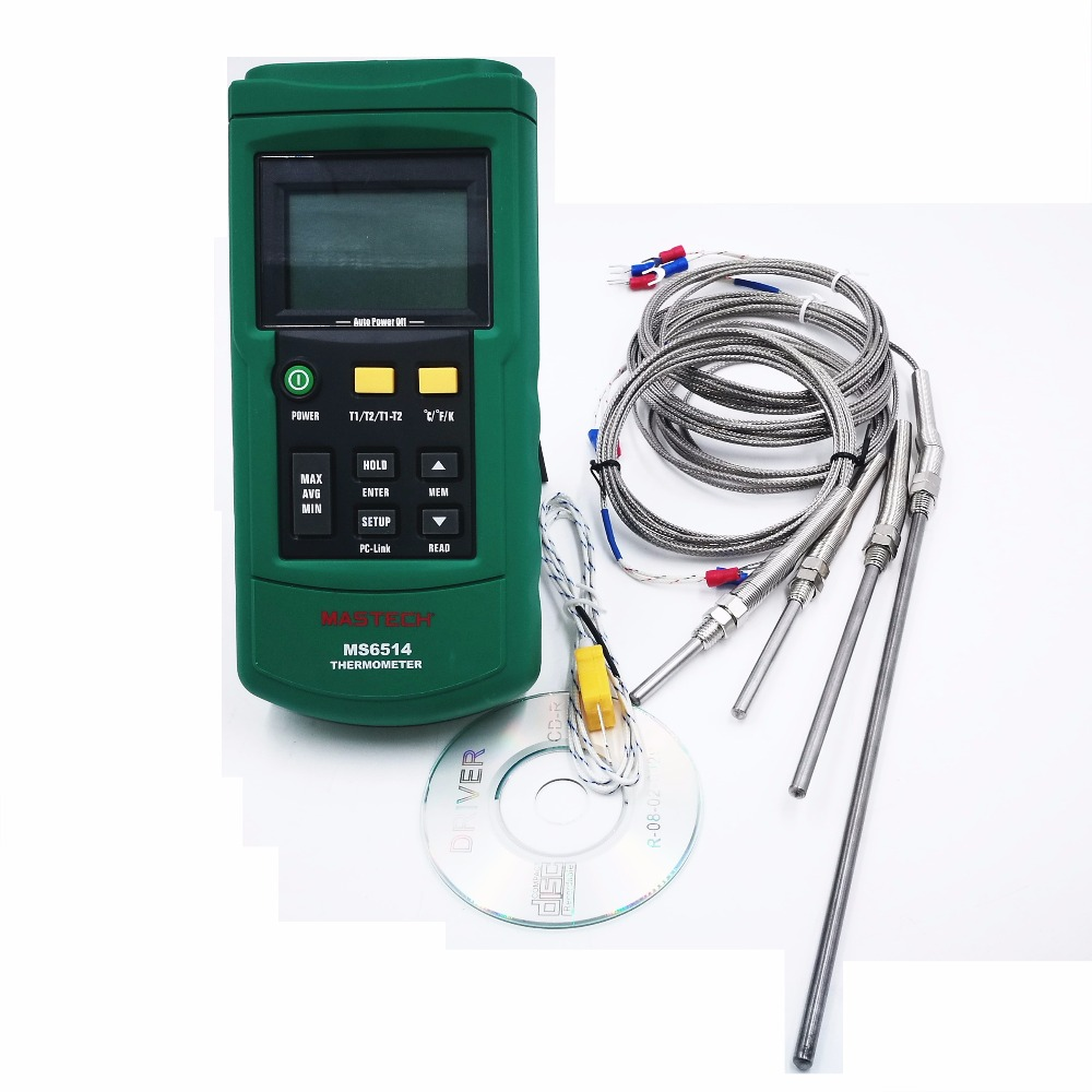 MASTECH MS6514 Dual Channel Digital Thermometer + 30mm 50mm 100mm 200mm K-type Thermocouple Temperature Sensor Probe 2 Meter цена