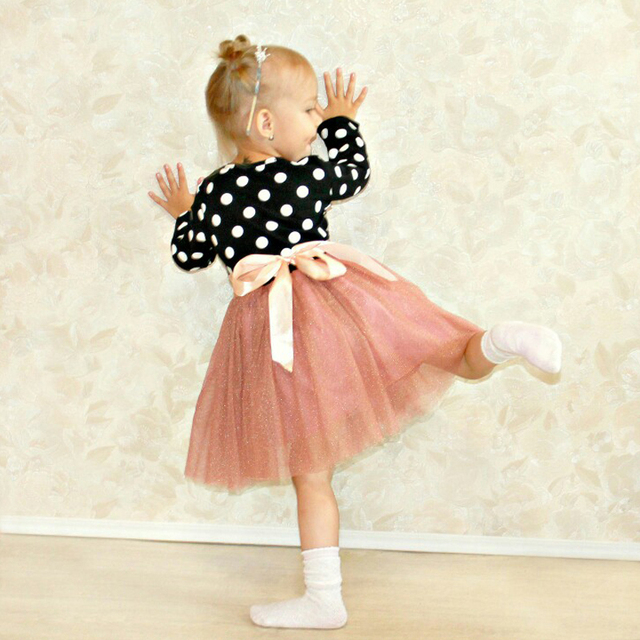 2018 Baby Party Dress For Girl Long Sleeve Princess Girls Dresses Polka Dot  Print Kids Clothes Little Girl Toddler School Dress-in Dresses from Mother  ... 1a3c5b7afe06