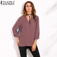 ZANZEA Women Vintage Blouses 2016 Ladies Sexy Blusas V Neck Long Roll Up Sleeves Solid Casual