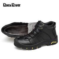 2018 Genuine Leather Men Boots Winter Shoes Men Waterproofs Fur Ankle Plush Warm Snow Boots Men