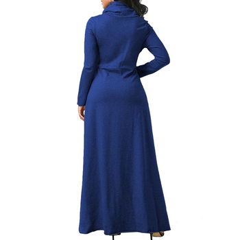 Women Long Sleeve Dress Large Size Elegant Long Maxi Dress Autumn Warm Turtleneck Woman Clothing With Pocket Plus Size Bigsweety 6