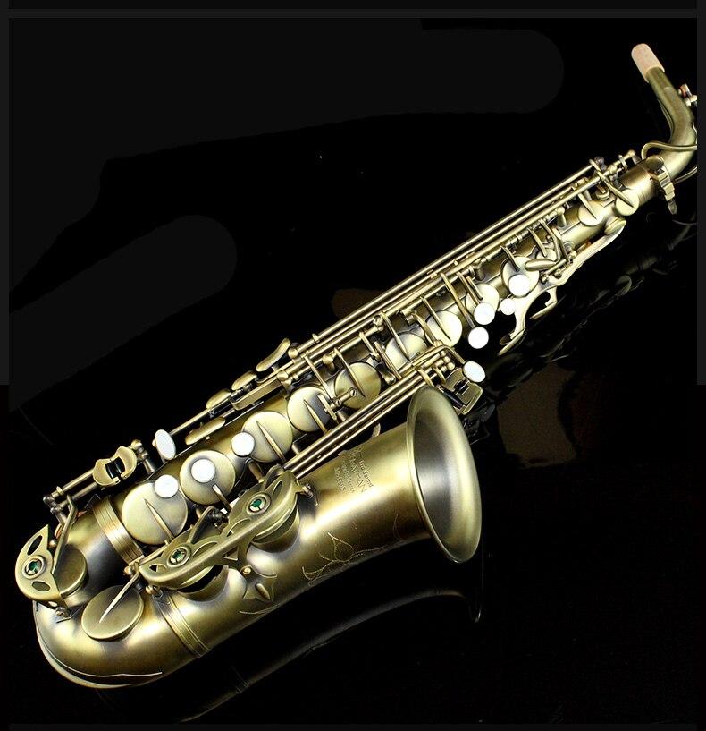 Le plus récent JONATHAN JNA-680F Saxophone Alto 680F Instruments en laiton de haute qualité Saxophone en cuivre Antique et Saxophone plat avec étui