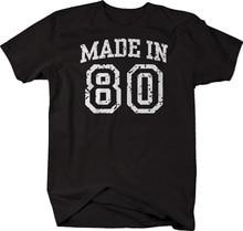 Feito em 80, aniversário 1980 camiseta presente de aniversário
