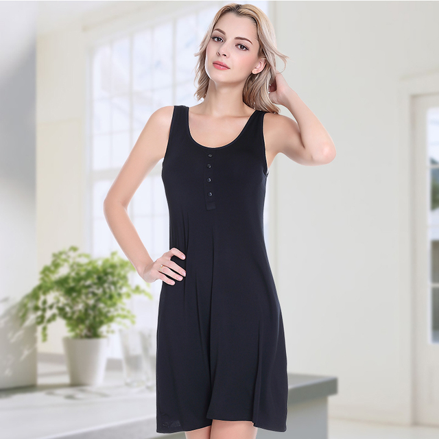 7c933168c3 Ejqyhqr New Summer Built In Bra Padded Wire Free Dress Women Casual  Sleeveless Loose Stretch Modal