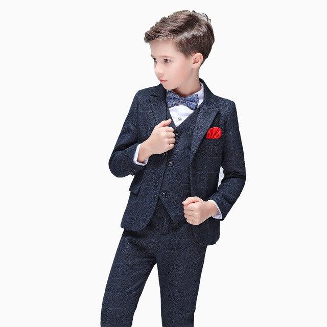 Blume Jungen Anzug Für Hochzeiten Kinder Blazer Jacke Weste Hosen Krawatte 4 Stücke Smoking Kinder Gentleman Party Host Kleidung Set Farben Sind AuffäLlig
