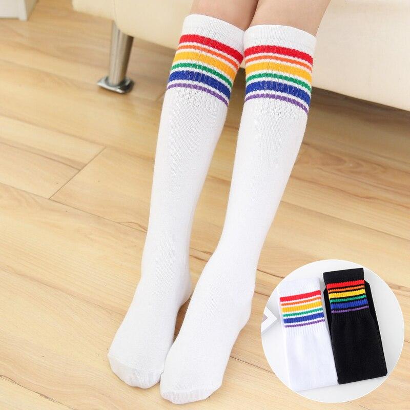 Girls Knee High Socks Kids Boys Football Stripes Cotton Sports School White Socks Skate Children Baby Long Tube Leg Warm