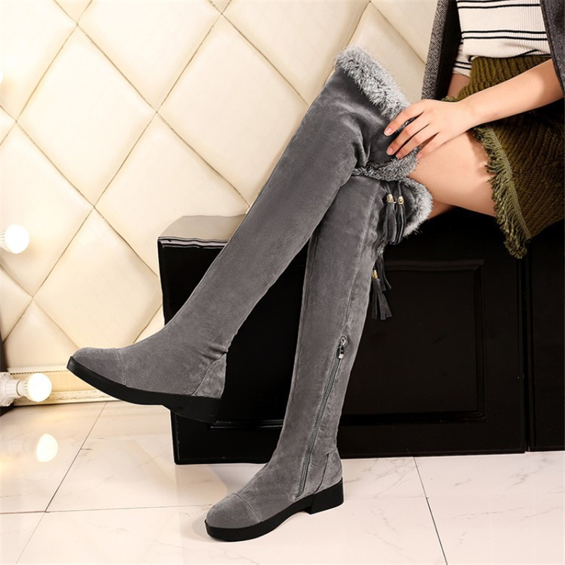 Thigh Long Snow Boots Sexy Women Shoes Fashion Over Knee Boots Flock Nubuck Shoes Black Gray Zip Fur Winter Boots Plus Size 43 morazora plus size 34 44 classic fashion flock nubuck leather knee high boots women winter snow high heels platform boots shoes
