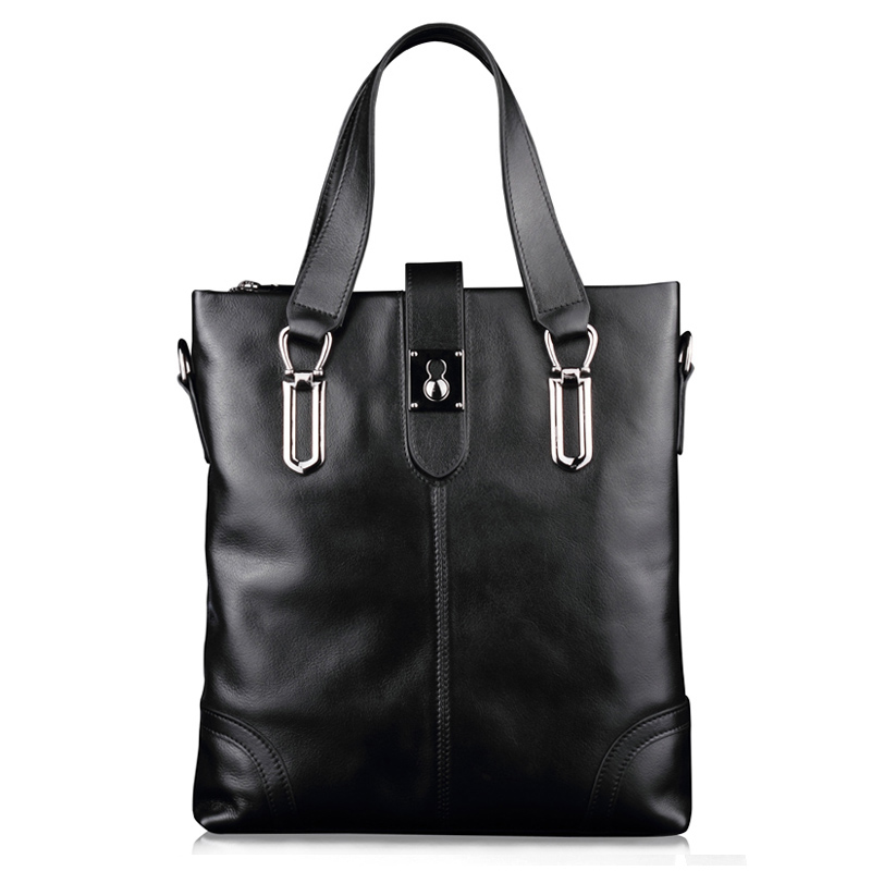 XuanWei Fashional messenger bag Black laptop bag Genuine Leather Handbag Top layer of cattle hide Business Briefcase (XW-118) fashional modern black