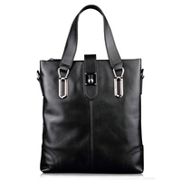 XuanWei Fashional messenger bag Black laptop bag Genuine Leather Handbag Top layer of cattle hide Business Briefcase (XW-118)