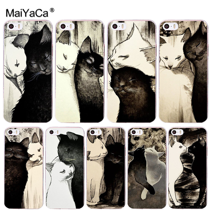 MaiYaCa Painting animal black and white cat cell phone case for Apple iPhone 8 7 6 6S Plus