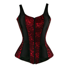 fed743a88 caudatus flower lace up corsets for women zipper shoulder strap bustier  corset overbust sexy lingerie style brocade red purple
