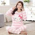 Pijamas para Las Mujeres del Precio bajo de Invierno Gruesa Caliente Coral de Franela niña Pijamas ropa de Casa Tienen Tiempo de Ocio Pantalones de Manga Larga Encantadora dulce