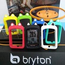 Bryton Capa de silicone protetora para celular, capinha emborrachada para telefone celular em forma de desenho animado para uso na bicicleta + película HD (para modelos Rider 405 Rider 410 e Rider 450)