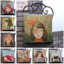 ¡Oferta! funda de almohada de protección de algodón y lino con estampado de flores Vintage para sofá o silla