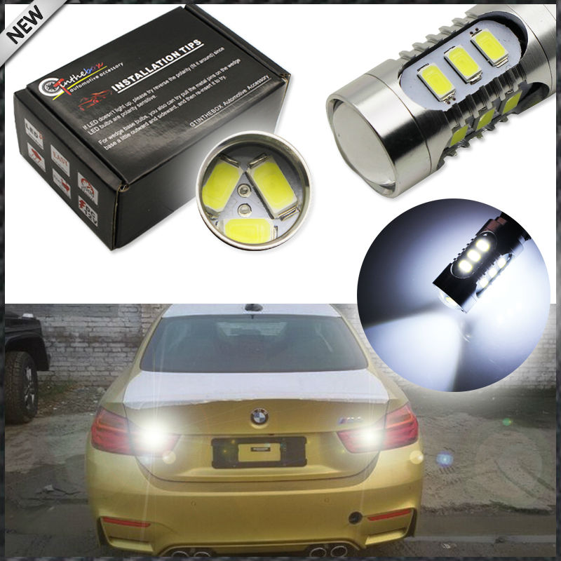 (2) Xenon White 15-SMD PW16W CAN-bus LED Backup Reverse Light Bulbs For 2014-up BMW 4 Series 420i 428i 435i M4 (F32 F33 F36 F82) 2pcs brand new high quality superb error free 5050 smd 360 degrees led backup reverse light bulbs t15 for jeep grand cherokee