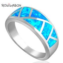Лидер продаж Прохладный Стиль Синий огненный опал Серебро штампованные кольца для Женская мода украшения американский размер#6#7#8#9#10 OR530A