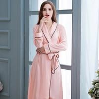 Hot Sales Pink Robes Sleepwear Women Robes Nightgown Dress 100 Cotton Sexy Robe Sleepwear Suit Nightdress
