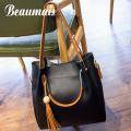 Beaumais Pu Leather Women Leather Handbags Tassel Women Messenger Bags Vintage Shoulder Composite Bags For Women Tote Bag DB5817