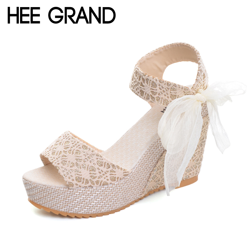 HEE GRAND Floral Wedges Sandals Summer Platform Gladiator Sandals 2017 NEW Shoes Woman Casual Ankle Strap High Heels XWZ2019 hee grand gladiator sandals summer style flip flops elegant platform shoes woman pearl wedges sandals casual women shoes xwz1937