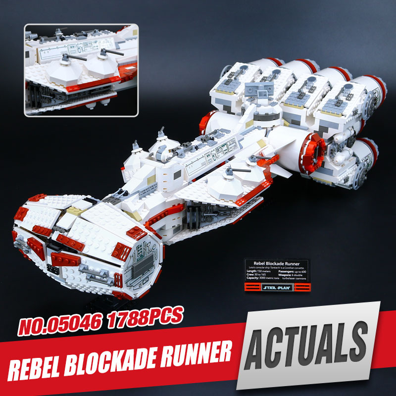 Lepin 05046 1788Pcs Star Kit War Starfighter The Tantive IV Star Blockade Runner Set Building Block Brick Educational Toy 10019 2017 new lepin 05046 1748pcs star war tantive iv rebel blockade runner model building kit blocks brick toy gift 10019 funny toy