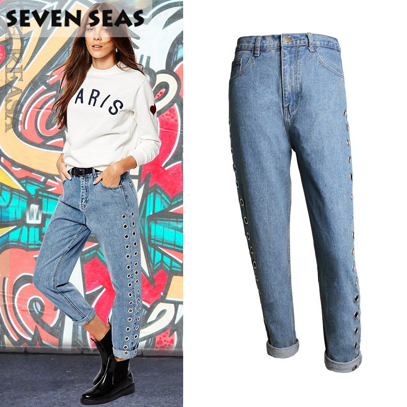 new fashion blue easy straight leg hollow metal rivets high waisted jeans femme baggy loose. Black Bedroom Furniture Sets. Home Design Ideas